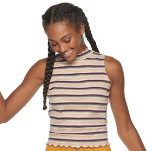 Candie's candy stripe mock neck tank top